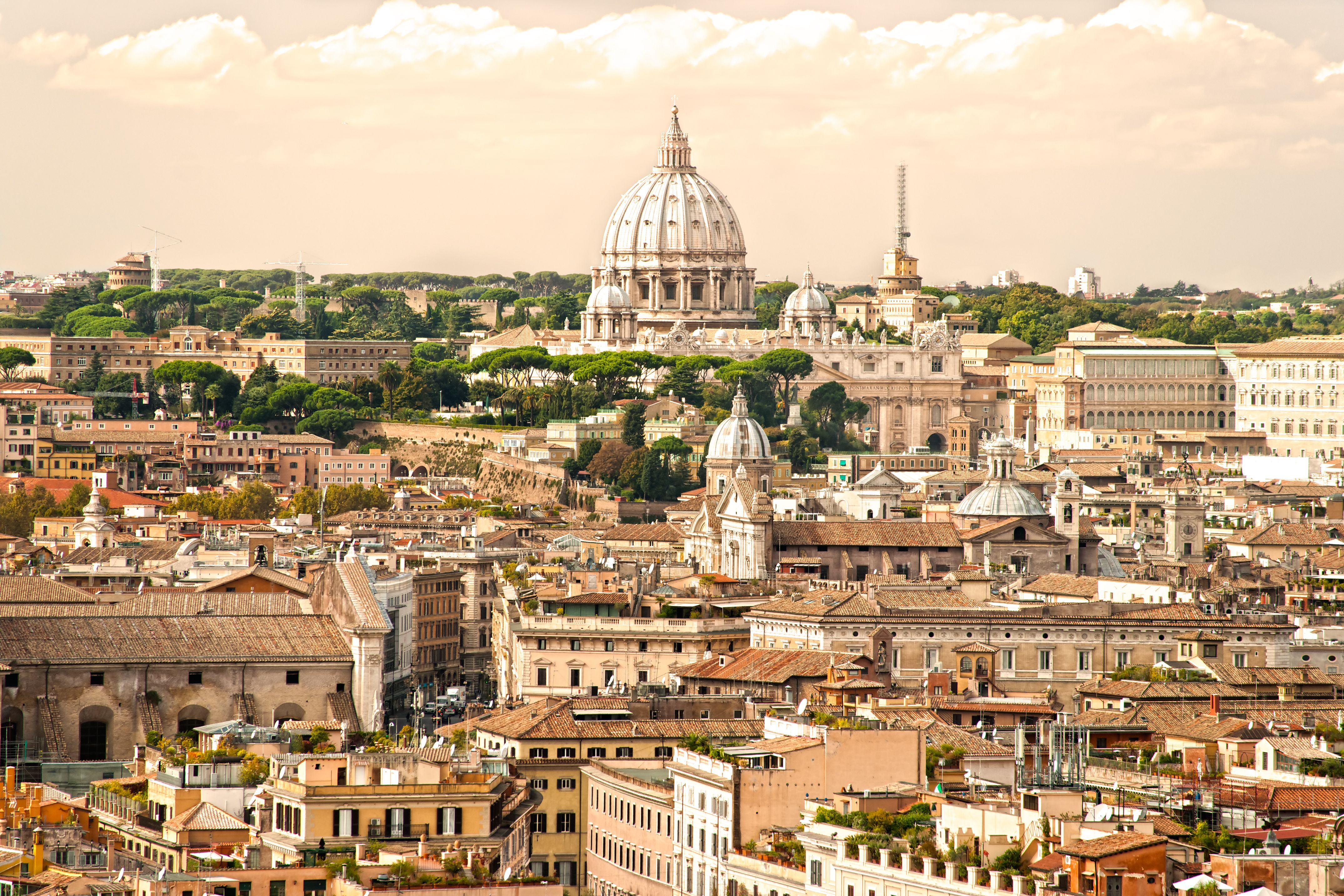 View of  San Peter basilica, Rome, Italy.