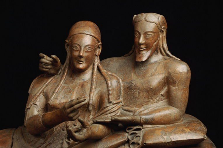 Detail Showing Figures on Etruscan Sarcophagus of a Married Couple --- Image by © Araldo de Luca/Corbis