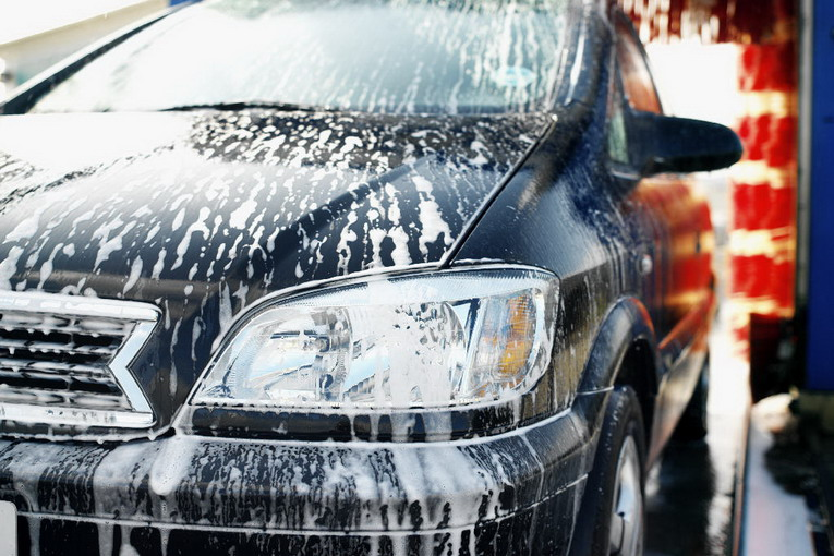 close-up of a car being washed