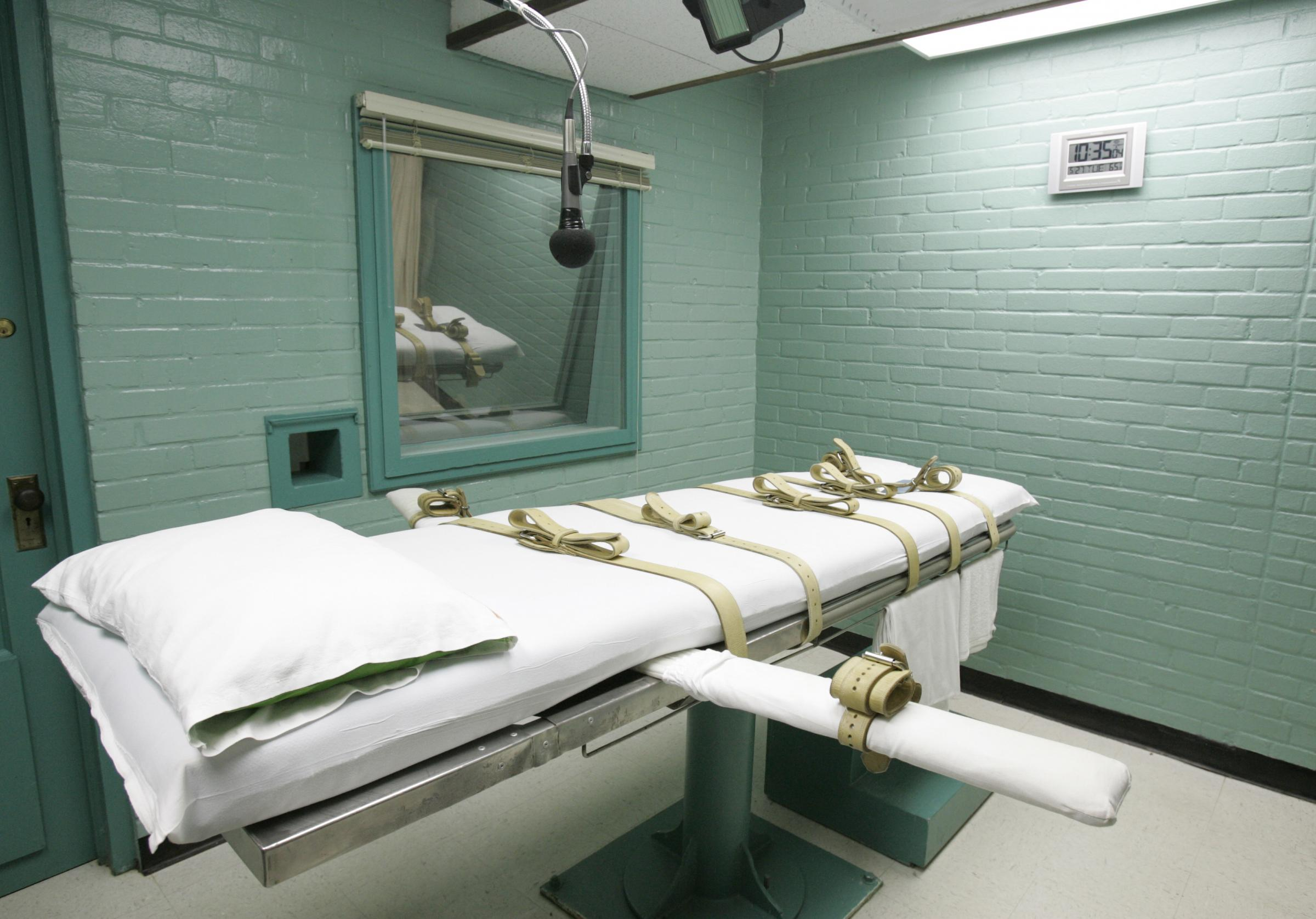 This photo taken May 27, 2008 file photo shows the gurney in Huntsville, Texas, where Texas' condemned are strapped down to receive a lethal dose of drugs. The first execution by lethal injection in Texas occurred in 1982. Since then the state has executed 499 prisoners. (AP Photo/Pat Sullivan, File)