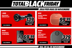 Total Black Friday Mediaworld, sconti solo per oggi 20 novembre